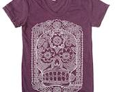 Womens SUGAR SKULL T-Shirt american apparel S M L XL (17 Color Options)