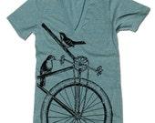 Unisex SPARROWS on a BIKE Deep V Neck t shirt  XS S M L (11 Colors Available)