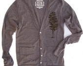 Unisex Pine Tree Tri-Blend Coffee Cardigan - American apparel XS S M L