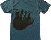 Mens Tree SLOTH T Shirt american apparel S M L XL (11 Color Options)