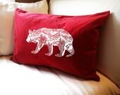 California BEAR Large Eco Throw Pillow Cover or Sham- 16x24 - Red Cotton Velvet