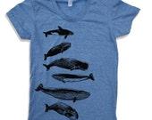 Womens WHALES t-shirt american apparel  S M L XL (16 Color Options)
