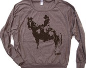 Womens COWBOY and Horse Tri-Blend Pullover - american apparel S M L (6 Colors)