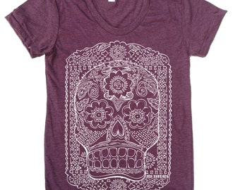 Womens SUGAR SKULL T-Shirt american apparel S M L XL (17 Color Options)