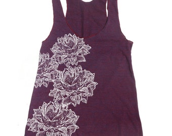 Women's LOTUS Blossoms -hand screen printed Tri-Blend Racerback Tank Top xs s m l xl xxl  (+Colors)