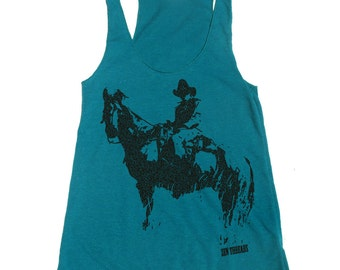 Women's COWBOY -hand screen printed Tri-Blend Racerback Tank Top xs s m l xl xxl  (+Colors)