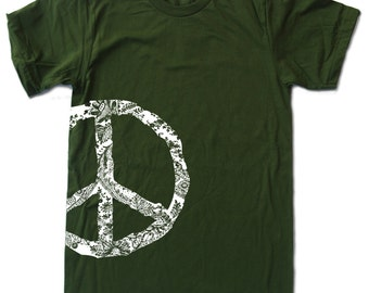 Mens PEACE SIGN T Shirt american apparel S M L XL (17 Colors Available)