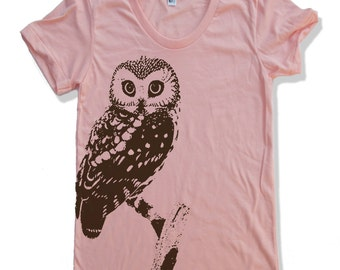 Womens URBAN OWL T-Shirt american apparel S M L XL (16 Colors Available)