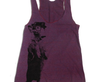 Women's OTTER -hand screen printed Tri-Blend Racerback Tank Top xs s m l xl xxl  (+Colors)