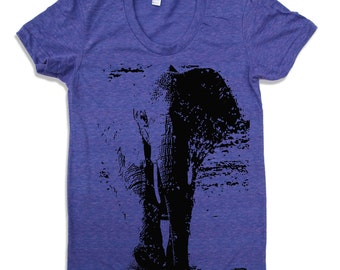 Womens ELEPHANT T-Shirt american apparel  S M L XL (16 Colors Available)