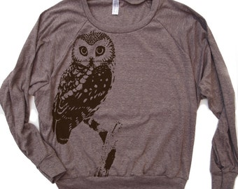 Womens URBAN OWL Tri-Blend Pullover - american apparel S M L (+ Color Options)