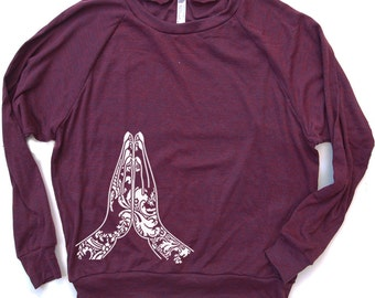 Womens NAMASTE Tri-Blend Pullover - american apparel S M L (8 Color Options)