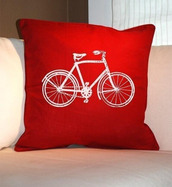 VINTAGE BIKE Red Eco Throw Pillow 20x20 (Renewable Linen/Cotton)