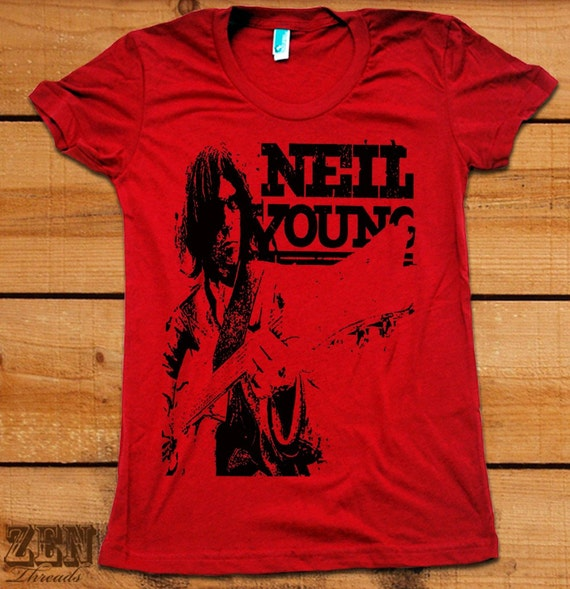 SALE Womens NEIL YOUNG T Shirt american apparel Red MEDIUM