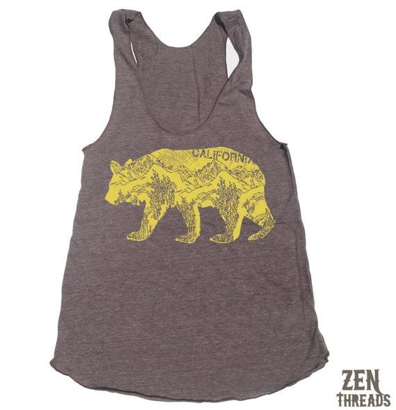 Womens California BEAR american apparel Tri-Blend Racerback Tank Top S M L (10 Color Options)