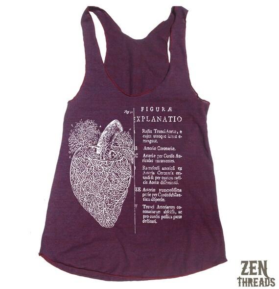 Womens Anatomical HEART american apparel Tri-Blend Racerback Tank Top S M L (10 Color Options)
