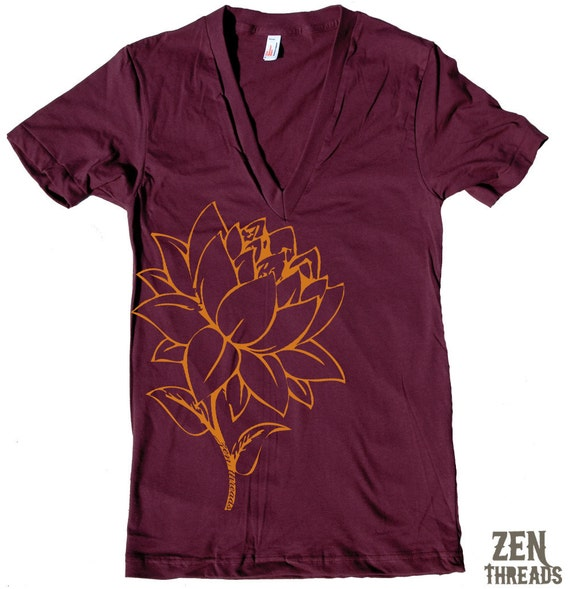 Unisex - LOTUS FLOWER Deep V-Neck american apparel T Shirt  XS S M L (11 Colors Available)