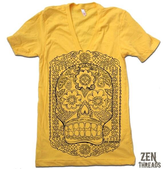 Unisex SUGAR SKULL Deep V Neck t shirt american apparel  XS S M L  (11 Color Options)