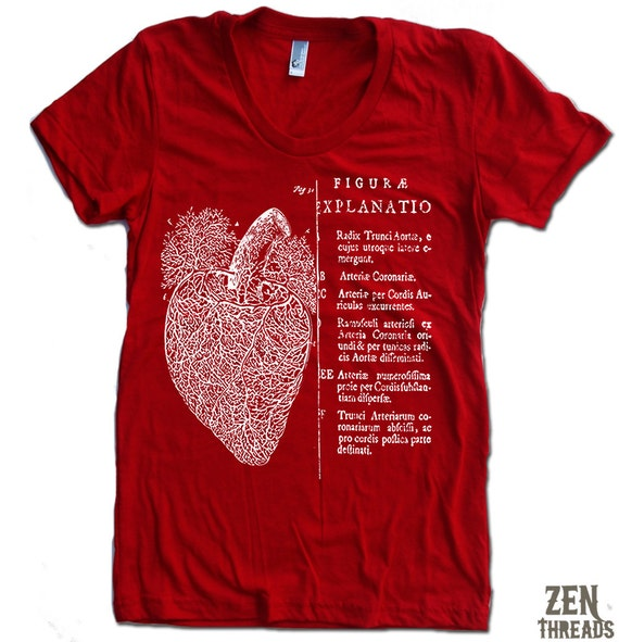 Women's Vintage ANATOMICAL HEART t shirt american apparel  S M L XL (17 Colors Available)