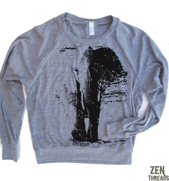 Womens ELEPHANT Tri-Blend Pullover - american apparel S M L (5 Color Options)