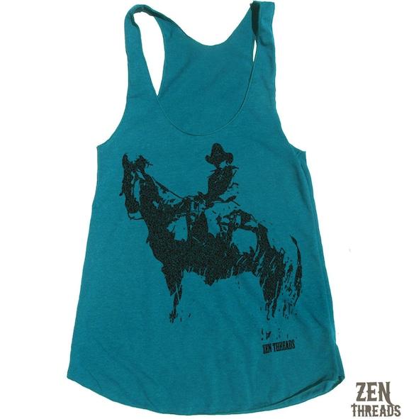 Women's COWBOY -hand screen printed Tri-Blend Racerback Tank Top xs s m l xl xxl  (+Colors)