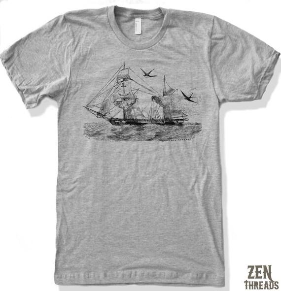Mens Vintage STEAMSHIP Illustration T-Shirt american apparel S M L XL (17 Colors Available)