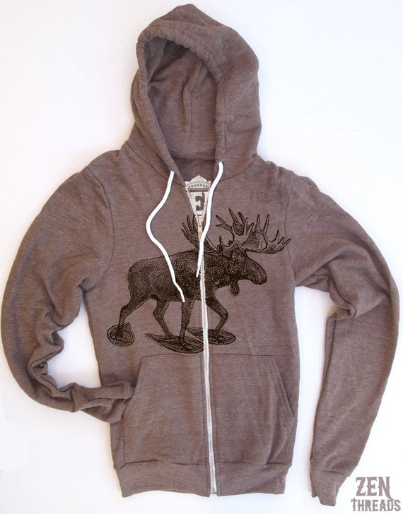 Unisex MOOSE (in Snow Shoes) Tri-Blend Hoody - American apparel XS S M L XL (in 3 Colors)