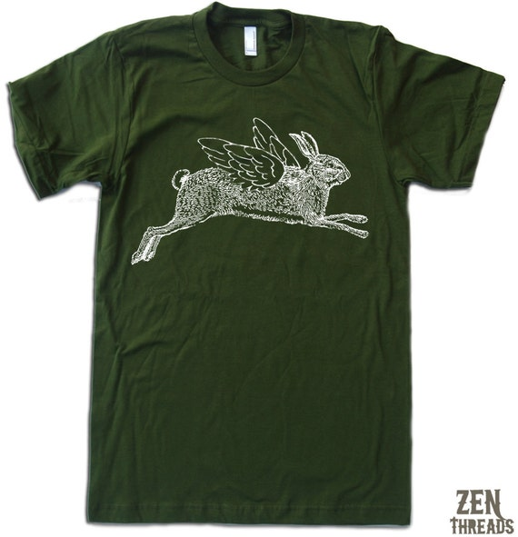 Mens Winged RABBIT american apparel T Shirt S M L XL (16 Colos Available)