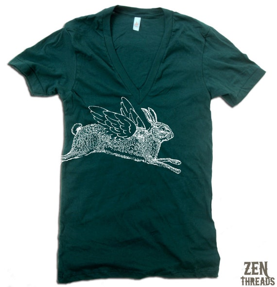 Unisex Winged RABBIT Deep V-Neck american apparel T Shirt  XS S M L (11 Colors Available)