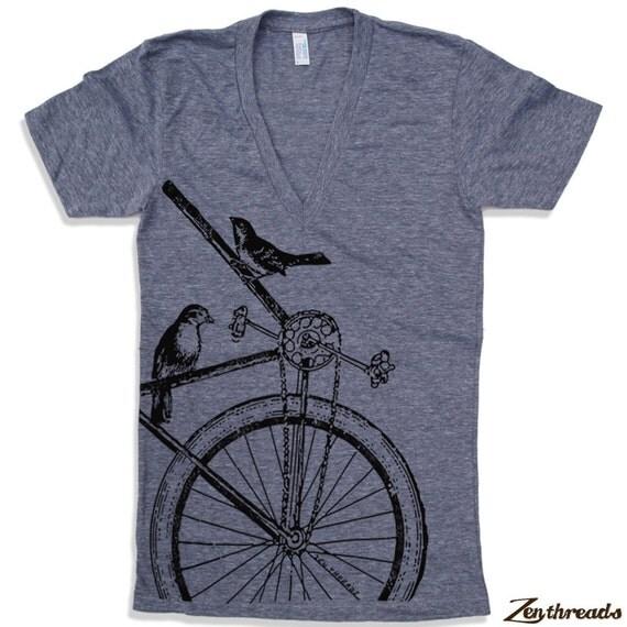 Unisex SPARROWS on a BIKE Deep V Neck t shirt  XS S M L (Colors Available)