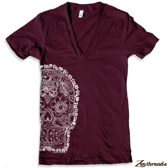 Unisex DAY Of The DEAD 2 Deep V Neck t shirt american apparel  XS S M L  (9 Color Options)