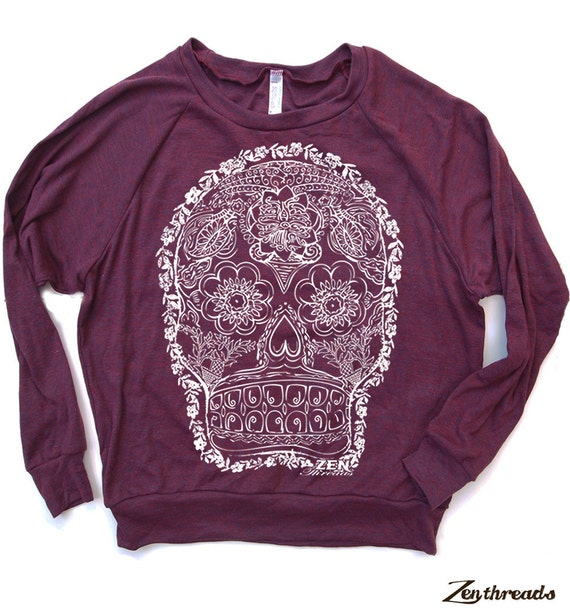 Womens DAY Of The DEAD 2 Lightweight Tri-Blend Pullover - american apparel S M L (6 Color Options)