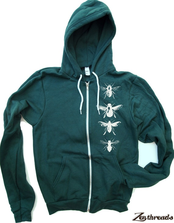 Unisex BEES Zip Hoody - American apparel all sizes XS S M L XL
