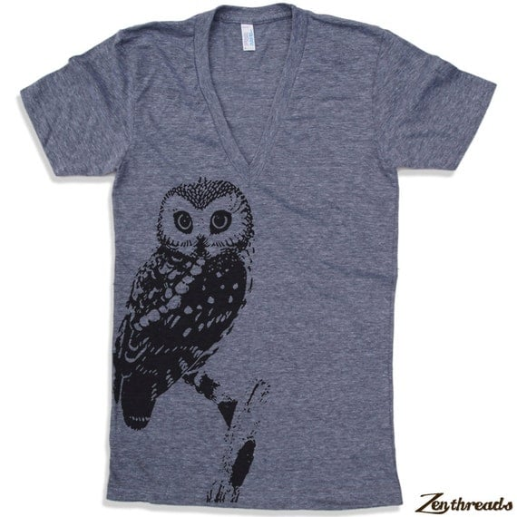 Unisex Urban OWL Deep V-Neck T Shirt  american apparel  XS S M L  (10 Color Options)