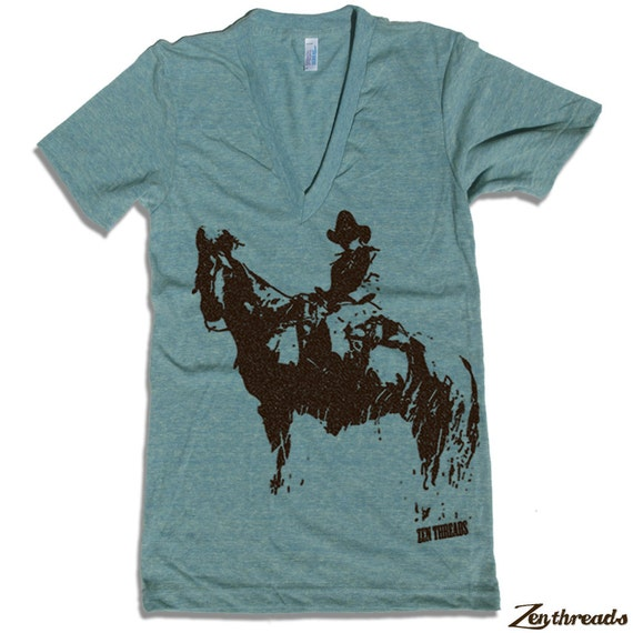 Unisex COWBOY and HORSE Deep V Neck T Shirt american apparel XS S M L (10 Colors Available)