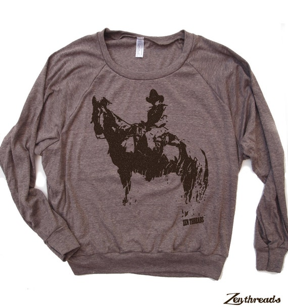 Womens COWBOY and Horse Tri-Blend Pullover - american apparel S M L (+ Color Options)