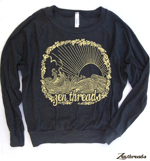 Womens BEACH Zen Threads Tri-Blend Pullover - american apparel S M L (+ Color Options)