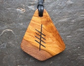Natural Wood Ogham Pendant - Blackthorn/Straif - to Protect Your Space.