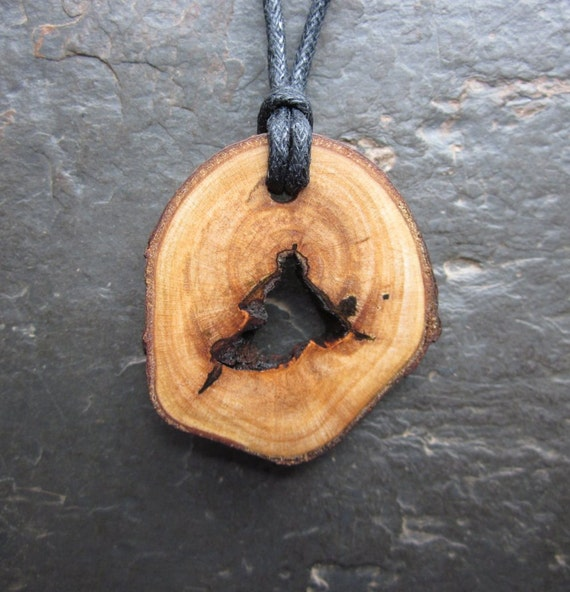 Unique Natural Wood Pendant - Sycamore - for Success.