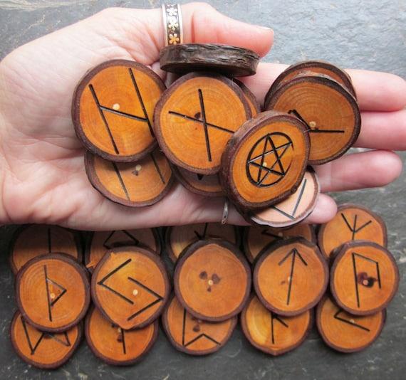 Reserved for dragonintherain. Medium/Large, Natural - Plum - Wood Rune Set with FREE Matching Pentacle Talisman.