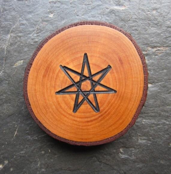 Reserved for Moontree13. Natural Wood Talisman - Alder - Faery Star for Altar or Pocket.