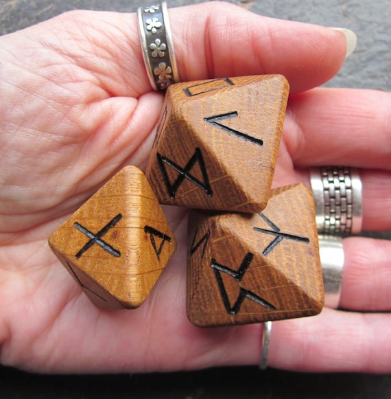 Unique and Exclusive - Rune Dice - made from Salvaged Oak Wood. Set 50.