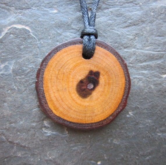 Beautiful Natural Wood Pendant - Plum - for Healing.