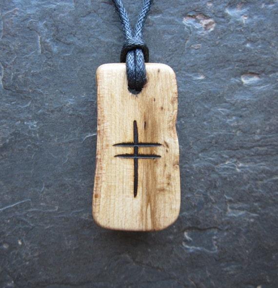 Reserved for croloate. Natural Wood Pendant - Gorse/Onn - Unique Split Log Ogham Design.