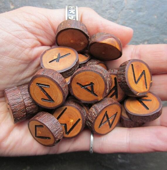"Small Sized ""Pocket Runes"", Natural - Apple - Wood Rune Set."