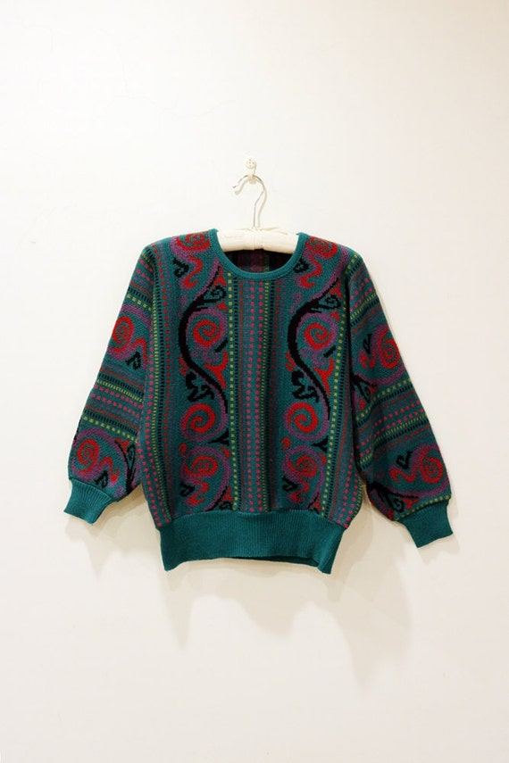 Shinny Green Boho Vintage Sweater