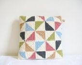 Mabel... pinwheel patchwork, crochet cushion cover