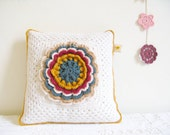 SALE - crochet cushion cover, fabulous rose... Esther - white, mustard, teal, vintage pink and caramel - SALE