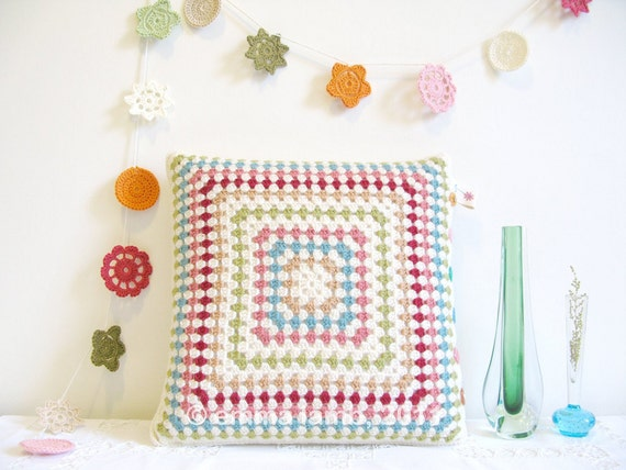SALE - Esme... crochet cushion cover - as featured in Vogue - SALE