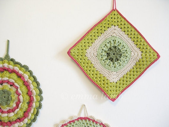 RESERVED - crochet pot holder... Betty - chartreuse green, beige and vintage pink